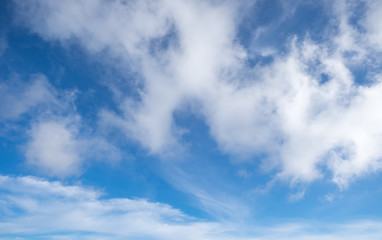 Cloud in bright day light blue sky texture background. Cool Weat