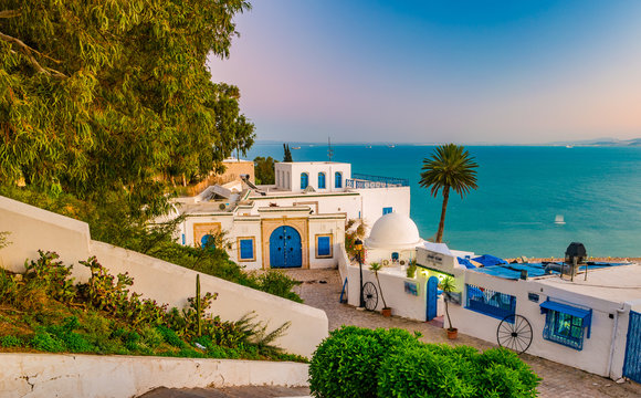 Sidi Bou Said, famouse village with traditional tunisian architecture. Shot an sunset.