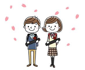 卒業式イメージ:男の子と女の子