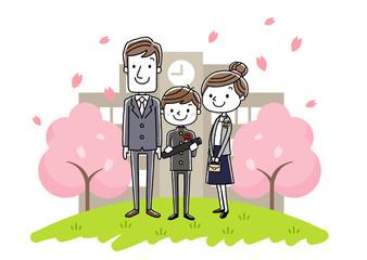 卒業式イメージ:両親と男の子