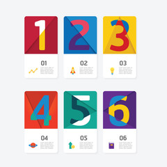 Business data process chart. Abstract of colourful number card,