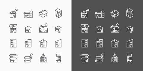 Buildings Collection icons set. flat line design vector for Web