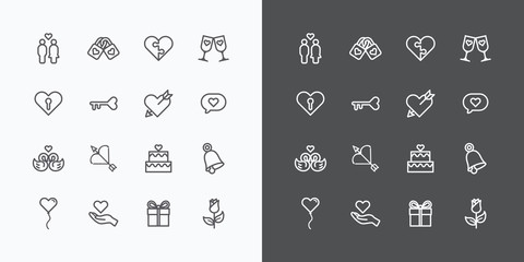 Love and Wedding Icons line Vector Design