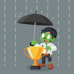 zombie businessman covering trophy with umbrella
