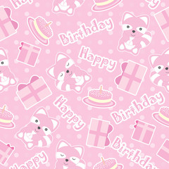 Birthday seamless pattern with cute raccoons, birthday gifts, and cakes on polka dot background suitable for birthday wallpaper, scrap paper and invitation card