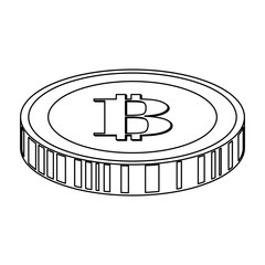 coin with letter b money related icon image simple black line vector illustration design