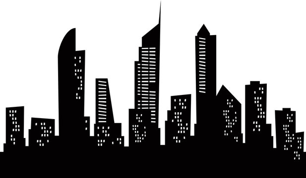 Cartoon skyline silhouette of the city of Gold Coast Australia.