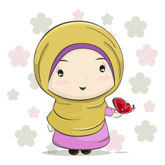 A Cute Muslim Girl Cartoon with Red Butterfly on Her Hand.Vector Illustration