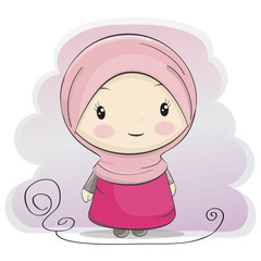 A Cute Muslim Girl Cartoon.Vector Illustration