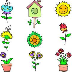 Illustration of spring object doodles