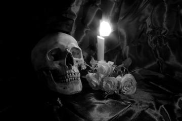Skull with Bunch of flowers and candle light on wooden table with black background in night time in black and white/ Still life style