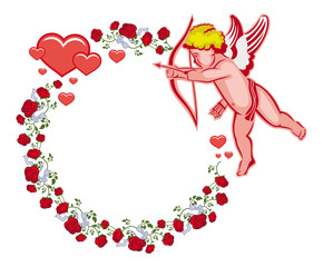 Elegant round frame with Cupid, red roses and hearts. Vector clip art.