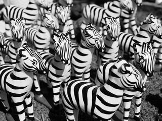 black and white of stack zebra statue