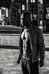 Hot buff black man posing