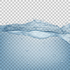 Transparent water wave in light blue colors. Transparency only in vector file