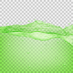 Transparent water wave in green colors. Transparency only in vector file