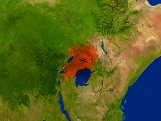 Uganda from space in red