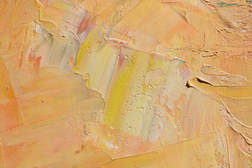 Warm color abstract art background. Oil on canvas. Rough and express brushstrokes of paint.