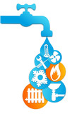 quotlogo plombier climatisation chauffagequot stock image and