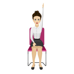 Pretty woman in business clothes is doing exercises for back on