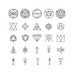 Alchemy Thin Line Icon Set. Vector