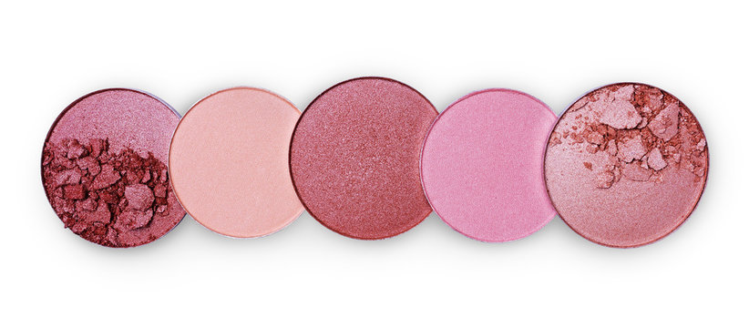 Different shade of crashed blush in a row