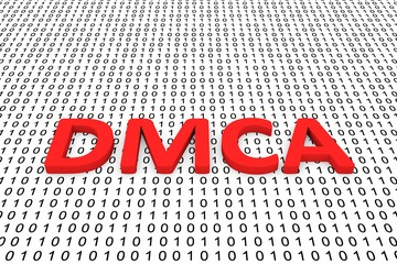 dmca in the form of binary code, 3D illustration