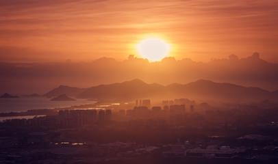 Scenic Sunset over Barra da Tijuca city and mountains, Brazil