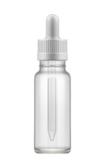 Blank template of empty transparent glass bottle with dropper. Realistic 3d mock-up container for liquid medical drug. Icon of pack for medicine product. Vector illustrations isolated on white