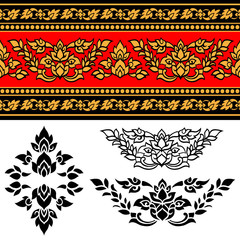 Line Thai art stripe design , Vector illustration