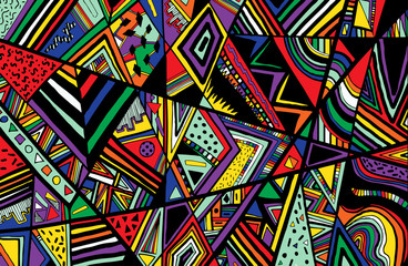 Fototapeta Abstract ethnic background is from different geometric shapes.Ve obraz