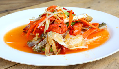 papaya salad with horse crab