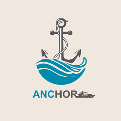 image of anchor symbol with sea waves