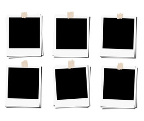 Set of polaroid photo films frame with tape, isolated on white backgrounds