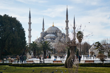 Blue mosque (Sultanahmet mosque) in a Sunny winter day