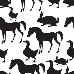 Vector seamless pattern. Farm animals. Horse,  goose, rabbit.