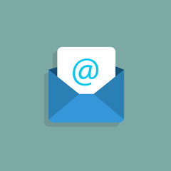 Envelope mail icon. Vector illustration. Flat style