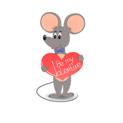 A mouse with a red heart. The inscription Be my Valentine
