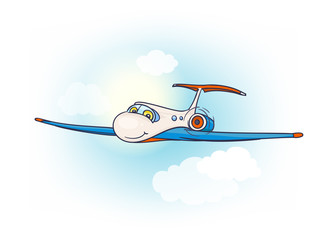 Cartoon air plane with smiling face