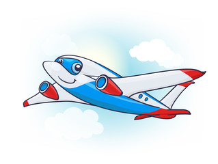 Cute Cartoon Plane Character in the Sky. vector