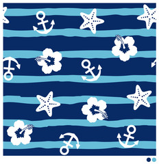 Seamless pattern of nautical stuff vector  with brush stripes background