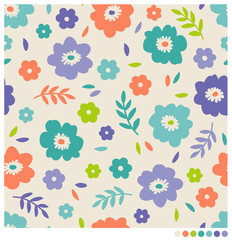 Seamless pattern of flower and leaf vector