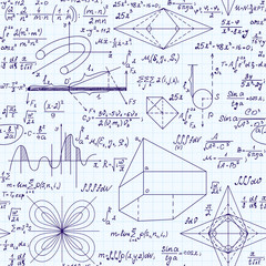Scientific vector seamless pattern with handwritten mathematical equations, formulas, plots, figures and calculations