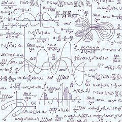 Mathematical educational vector seamless pattern with formulas, geometrical figures and equations, handwritten on white grid copybook paper