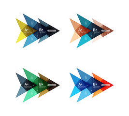 Colorful arrow option infographics banners, business geometric templates