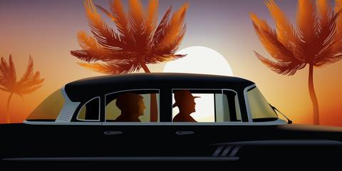 Cuba - Voiture - Tourisme - Coucher de Soleil