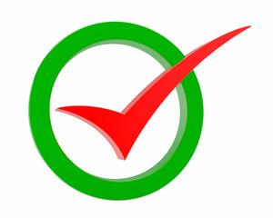 red Correct mark symbol