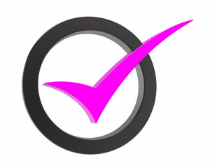 pink Correct mark symbol