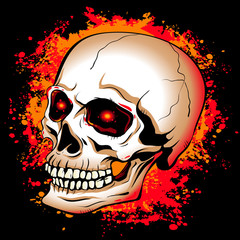 skull with glowing red eyes on a background of the bright spots  paint