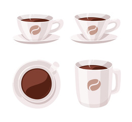 Set of Cartoon Style Coffee Cup. Vector Illustration Hand Drawn Caffeine Drinks